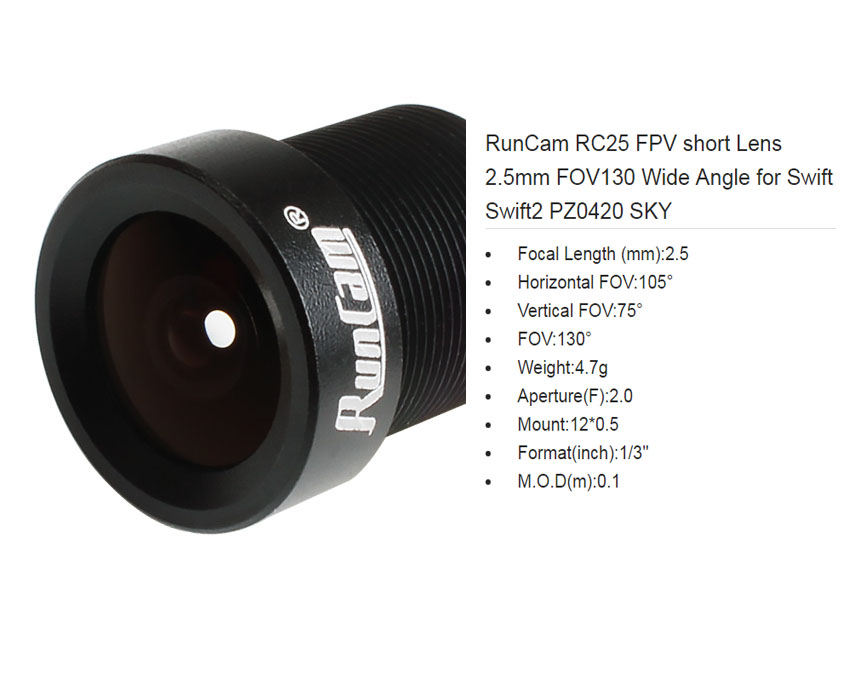 RunCam RC25 FPV short Lens 2.5mm ,FOV130 Wide Angle, for Swift Swift2 PZ0420 SKY