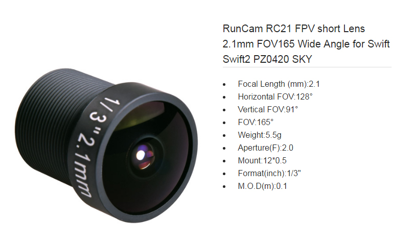 RunCam RC21 FPV short Lens 2.1mm, FOV165 Wide Angle ,for Swift Swift2 PZ0420 SKY