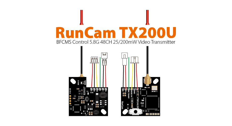 RunCamTX25,1S 5.8G 6band,48CH 25mw,Video Transmitter